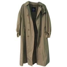 Pre-owned Burberry Jacket Trench Beige Penny Lane Vintage Large Trench... ($199) ❤ liked on Polyvore featuring outerwear, coats, khaki, long vintage coat, long brown coat, long beige coat, long khaki coat and burberry coat