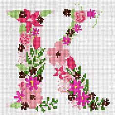 The Letter K Flowering Needlepoint Canvas Pepita