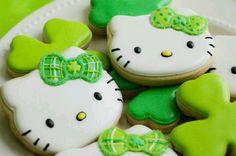 Hello Kitty St. Patty's Day Cookies. #hellokitty #saintpatricksday #cookies.