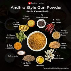 As we come closer to the end of a spicy week, how can we forget this famous South Indian masala! This masala is the secret to all the famous South Indian Platters. Presenting to you all the classic : Andhra Style Gun Powder. Podi Recipe, Biryani Recipe, Momos Recipe, Masala Powder Recipe, Masala Recipe, Homemade Spices, Homemade Seasonings, Spicy Spice, Masala Spice