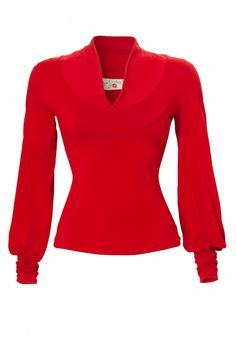 Miss Candyfloss - TopVintage exclusive ~ 40s Grace top long sleeve red