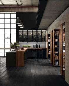 Modern Trends Interior Design - Home Remodeling Industrial Kitchen Design, Industrial House, Industrial Interiors, Interior Design Living Room, Modern Interior, Modern Industrial Decor, Industrial Bedroom, Industrial Style Kitchen, Modern Decor