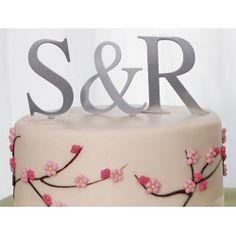 Brushed Silver Monogram Wedding Cake Topper Large Letter D Wedding Cake With Initials, Unique Wedding Cakes, Monogram Wedding, Monogram Initials, Wedding Ideas, Monogram Letters, Wedding Stuff, Dream Wedding, Wedding Inspiration