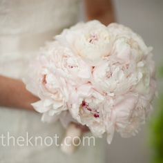 Pale Pink Bouquet    Alex held a lush bouquet of pale pink peonies (her favorite flower).