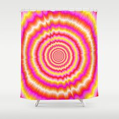 Shockwaves in Violet and Yellow Shower Curtain by colinforrest