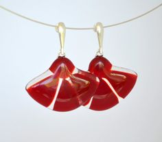 Smart Unique Fused Glass Earrings  red glass by RedPointTailor, €20.50  www.redpointtailor.com