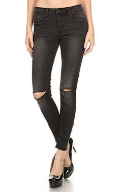 Vialumi Women's Juniors Slit Knee Distressed Ripped Skinny Jeans Washed Black 3 ❤ ...