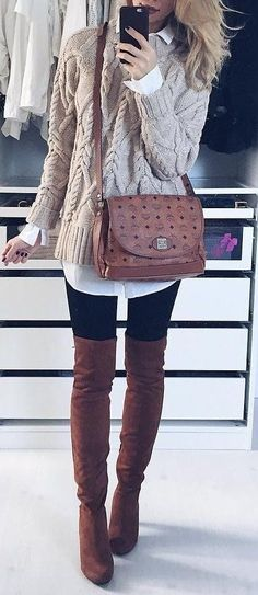 Stunning chic winter outfits ideas to look casual 02 clothes Chic Winter Outfits, Fall Outfits, Casual Outfits, Winter Chic, Casual Winter, Winter Style, Outfits 2016, Hipster Outfits, Outfit Winter