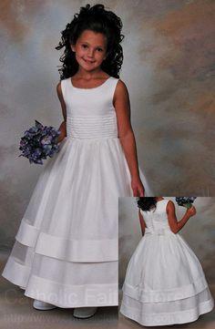 White Peau Satin and Organza Flower Girl Dress, First Communion Dress - Girls First Communion Dresses, Holy Communion Dresses, First Holy Communion, Flower Girls, Flower Girl Dresses, Little Girl Dresses, Girls Dresses, Dresses 2013, Pageant Dresses