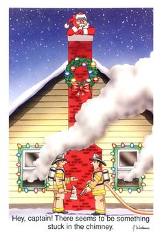 Fireman / Firefighter Christmas Cards - X-828 - One (1) Pack of 10 Cards & Envs. #Christmas