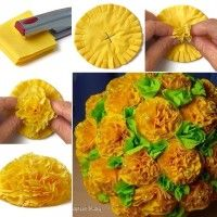 Image via: murzilka To make these flowers first you have to take two layers of square tissues or paper napkins. After that fold them into square and layer the two squares over each other. Staple in the middle so that you will see a plus sign of staples in the centre of a layered square. Cut this layered square in a