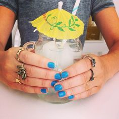 Mani Monday! #summer #blue #rings #accessories