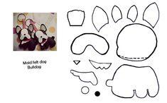 bulldog fel feltro mold molde dog pet diy art sewing cute