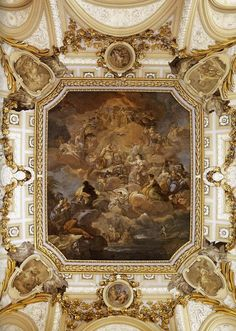 Giaquinto Corrado (b. Spain Protecting Religion and the Church Fresco on the staircase of Palacio Real, Madrid, By the Giaquinto was the leading exponent of the Rococo school that flourished in Rome during the first half of. Architecture Baroque, Classical Architecture, Beautiful Architecture, Beautiful Buildings, Architecture Details, Fresco, Palace Of Versailles, Louis Xiv, Tempera