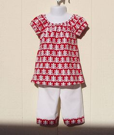 White Trees on Red Christmas 2 Piece Set Size 18 by ArtsyCrafty, $22.50