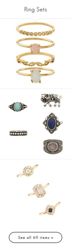 """""""Ring Sets"""" by monica-baugh on Polyvore featuring jewelry, rings, stackable band rings, drusy ring, druzy jewelry, band jewelry, drusy jewelry, imitation jewelry, carved rings and green turquoise ring"""