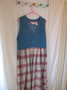 womens maxi dress, size large, vintage from the 1980-90s. cotton chambray and plaid fabric.  features:  sleeveless dress or jumper breast pocket