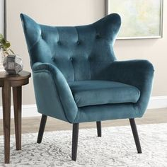 Willa Arlo Interiors Heywood Armchair and Ottoman Velvet Wingback Chair, Papasan Chair, Chair And Ottoman, Chesterfield Chair, Wingback Chairs, Chair Upholstery, Chair Fabric, Swivel Chair, Accent Furniture