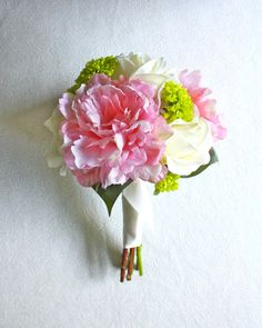 Peony and Mums Bouquet Pink Ivory Green Chartreuse by Lilywinkel, $75.00