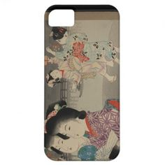 Japanese Vintage Art featuring firefly cages iPhone 5 Case #bird #japan #japanese #iphone5case #vintage