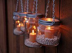 Hanging Mason Jar Garden Lights - DIY Lids Set of 4 Wide Mouth Mason Jar Lantern Hangers or Flower Vase Hangers - Silver Chain. $16.00, via Etsy.