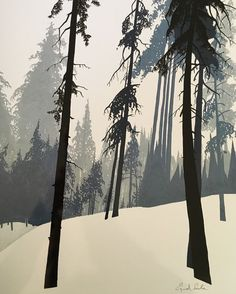 I like depth of this picture, layering and long ill shapes of this trees