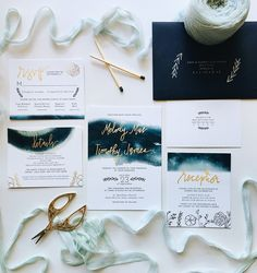 Whimsical Navy and Gold Watercolor Wedding Invitation Suite Country Wedding Invitations, Watercolor Wedding Invitations, Wedding Invitation Suite, Wedding Stationary, Custom Invitations, Romantic Wedding Receptions, Romantic Weddings, Blue Weddings, Wedding Ideas