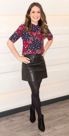 Black Leather Mini Skirt, Faux Leather Skirt, Black Leather Skirt Outfits, Nylons, Celebrity Boots, Red Leggings, Black Tights, Black Pantyhose, Blouse And Skirt