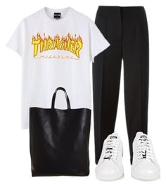 """White Shoes"" by chloeramon ❤ liked on Polyvore featuring Alexander McQueen, CÉLINE and adidas"