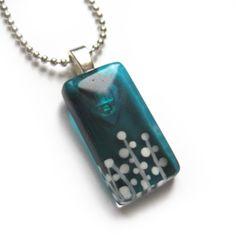 Hand painted foliage glass pendant  aqua  by azurine on Etsy, $25.00