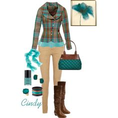 """Plaid blue & brown jacket, beige pants, brown boots """"Fall"""" by cindy32tn on Polyvore"""