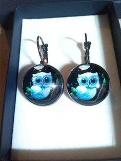 Ohrhänger mit Eulen-Cabochon Turquoise Necklace, Drop Earrings, Jewelry, Design, Owl Earrings, Silver, Jewlery, Jewerly, Schmuck