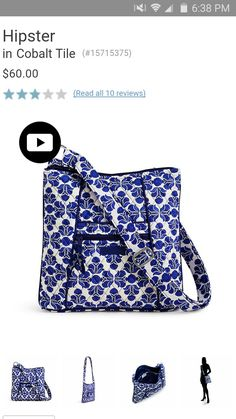 Hipster by Vera Bradley in Cobalt Tile. Available now for Summer 2016 at  Rogers Jewelers 4537f59f695b4