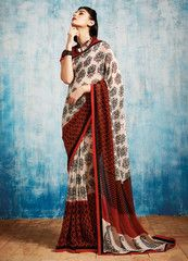 Cream, Red & Black Color Georgette Casual Party Sarees : Nilu Collection YF-37145