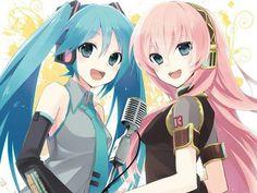Miku Hatsune and Luka Megurine Vocaloid Kaito, Vocaloid Funny, Kagamine Rin And Len, Anime Couples Manga, Cute Anime Couples, Anime Girls, Akatsuki, Color Bordo, Vocaloid Characters