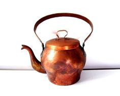 Antique Tea Kettle French Hand Hammered Copper Teapot. $95.00, via Etsy.