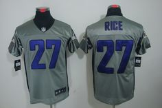 Ray Rice Jersey  Shadow Elite  27 Baltimore Ravens Jersey In Grey Afc Nfl f7b615a8e