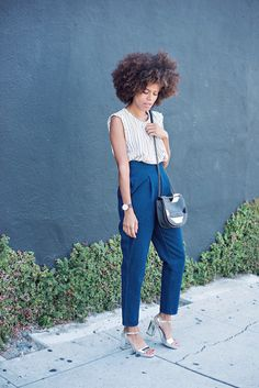Striped Top+ High Waist jeans+silver ankle strap heeled sandals+black and nude shoulder bag. Summer outfit 2016 STYLE ME GRASIE