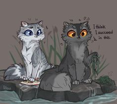 Fishing by GrayPillow Silverstream and Graystripe Warrior Cats Comics, Warrior Cat Memes, Warrior Cats Fan Art, Warrior Cats Series, Warrior Cat Drawings, Cat Comics, Warriors Memes, Love Warriors, Cat Character
