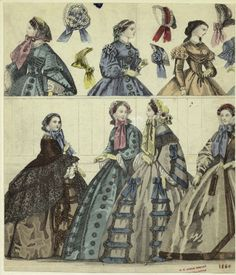 [Women in dresses and bonnets, 1860.]