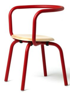 Aluminium and #wood #chair PARRISH by Emeco | #design Konstantin Grcic #red