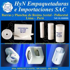 Barras y Planchas de Resina Acetal, Ertalon, Ertalyte, Delrin, Poliacetal POM, Lima, Perú. Para más información:  HyN Empaquetaduras e Importaciones SAC  Av. Ramón Cárcamo 547, Cercado de Lima  RPM 988961307 – *370414 (whatsapp)  Entel 946416015 – 998376580 (whatsapp)  Fijo: 3326555  ventas@hynempaquetaduras.com  aislantes@hynempaquetaduras.com