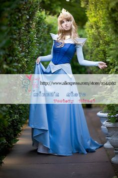 Custom made Beautiful Adult sleeping beauty princess aurora blue cosplay costume party dress-in Costumes & Accessories from Apparel & Access...