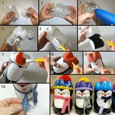 Adorable Penguin Ornaments!!  1. Two 2 liter pop bottle (you can use smaller bottles to make smaller Penguins) cut through the top half of the plastic with knife 2. Place the one piece you just cut & hot glue the 2 pieces together