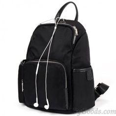 Fashion Oxford Splicing Top Layer Cowhide Backpack Trendy Women Preppy Style Drawstring Bag Waterproof Durable Buckle Travel Bag Women's Bags Backpacks