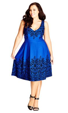 Women's Plus Size Border Flock Dress - French Blue | City Chic USA