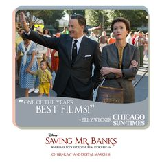 "Don't miss your chance to own ""one of the year's best films."" #SavingMrBanks - available on Blu- Ray and Digital HD March 18."
