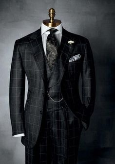 """HABERDASHERY Collection ~ Windowpane has been a standard pattern in HABERDASHERY, men's suiting. And we adore it in home furnishings for the """"sophisticated guy"""" in black, charcoal, and smoke, beautiful wool milled in Italy. Sharp Dressed Man, Well Dressed Men, Dress Suits, Men Dress, Men's Suits, Guys In Suits, Nice Suits, Mode Costume, Designer Suits For Men"""