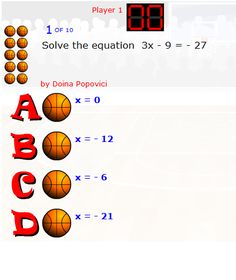 Online Basketball Game - Equation Solving; players get to take shots at the basket if their solutions are correct