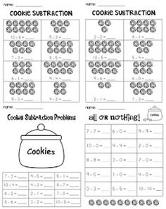 First Grade Garden: Cookie Subtraction.I want to do this whole lesson! Subtraction Kindergarten, Subtraction Worksheets, In Kindergarten, Kindergarten Addition, Teaching First Grade, 1st Grade Math, Teaching Math, Grade 1, Teaching Tips